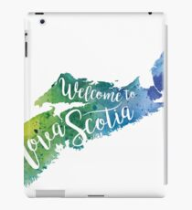 Nova Scotia Watercolor Map - Welcome to Nova Scotia Hand Lettering  iPad Case/Skin