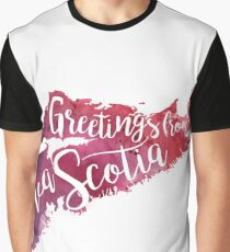 Nova Scotia Watercolor Map-Greetings from Nova Scotia Hand Lettering  Graphic T-Shirt