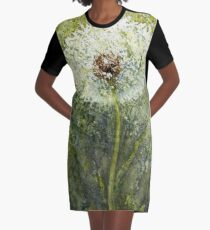 Watercolor Dandelion Seed Head Graphic T-Shirt Dress