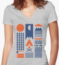 Vereinfachen Tailliertes T-Shirt mit V-Ausschnitt