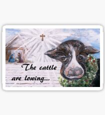 Snow Cow at the Manger Sticker
