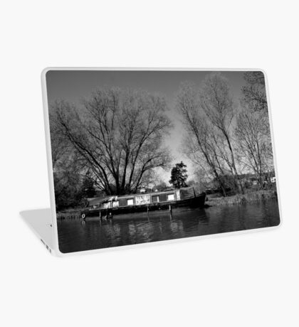 Old Narrow Boat in Black and White Laptop Skin