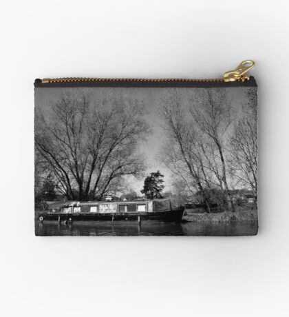 Old Narrow Boat in Black and White Studio Pouch