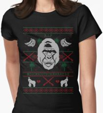 harambe ugly christmas sweater womens fitted t shirt