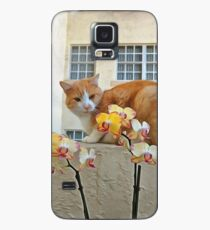 Cat Behind the Flowers Case/Skin for Samsung Galaxy