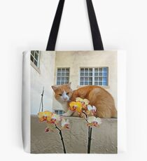 Cat Behind the Flowers Tote Bag