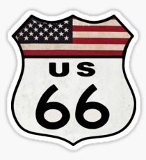 Vintage Look Route US 66 Sign Sticker