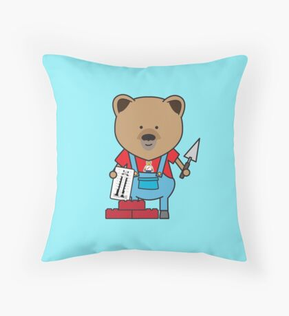 Bobby the Bricklayer Bear Throw Pillow