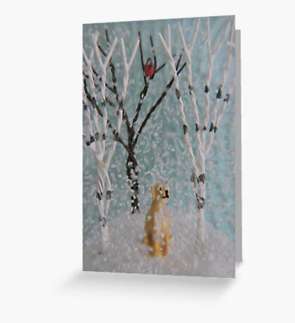 Labrador SnowGlobe Greeting Card