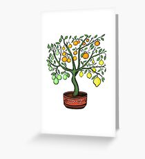 Citrus Tree with 4 fruits Greeting Card
