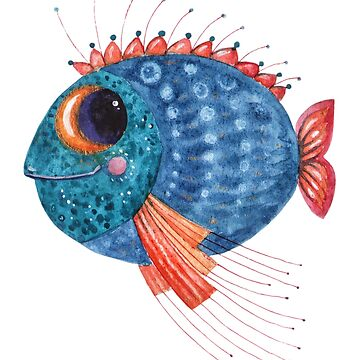 Blue funny fish watercolor illustration by Netopir