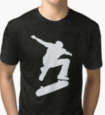 Skateboard Skateboarder Trick Ollie Kick Flip Skater  Tri-blend T-Shirt