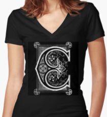 Old print ornament letter E Women's Fitted V-Neck T-Shirt