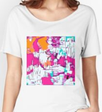 pink orange and green drawing abstract  Women's Relaxed Fit T-Shirt