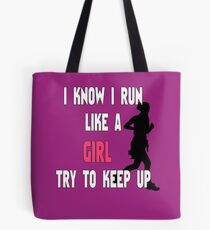 Girl Runner Graphic | I Run Like a Girl Tote Bag