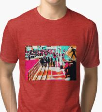 group of people walking with the wooden walkway Tri-blend T-Shirt