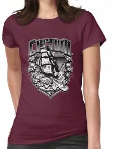 Nautical Captain Old Sailing Ship in Waves, Vintage Distressed Womens Fitted T-Shirt