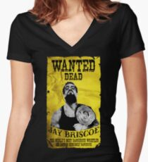 Jay Briscoe - Wanted Dead T-shirt Women's Fitted V-Neck T-Shirt