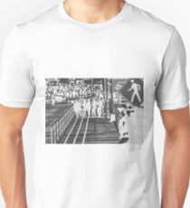 crowded on the wooden walkway in black and white T-Shirt