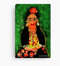 Mexican  Frida Folk Art Portrait Canvas Print