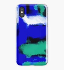 blue green and white painting texture  iPhone Case/Skin