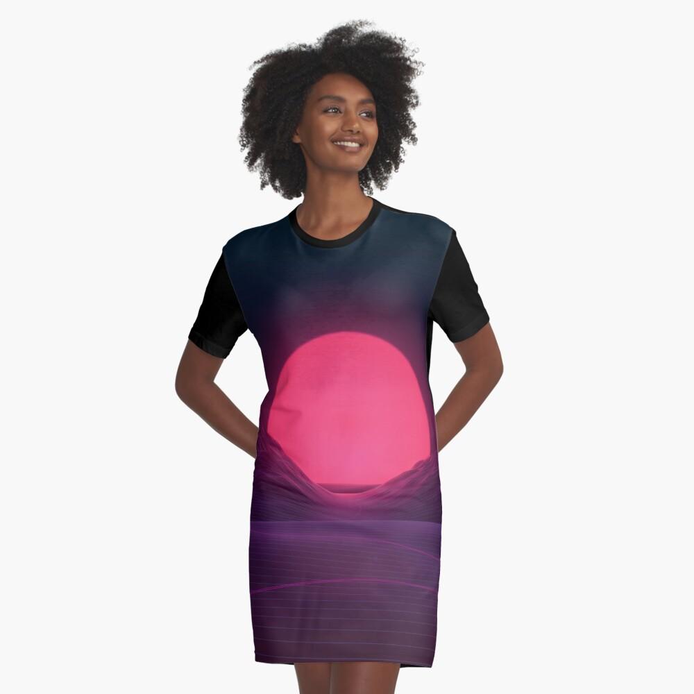 Neon Sunset Graphic T-Shirt Dress