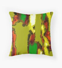 green red orange black and yellow painting abstract Throw Pillow