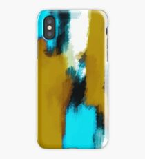 blue black and white painting texture  iPhone Case/Skin