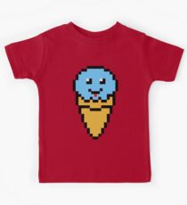 Pixel Blue Ice Cream Cone Kids Tee
