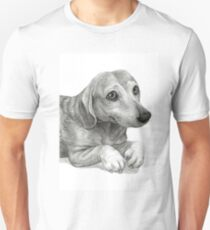 Graphite Pencil portrait drawing of Peanut the Dachshund Unisex T-Shirt