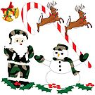 Christmas Wonderland, Camouflage Santa Claus and Camo Snowman by Sandy O'Toole