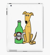Cool Funny Greyhound Dog with Large Beer iPad Case/Skin