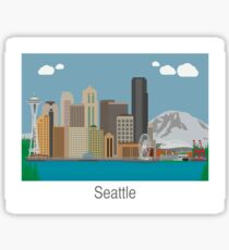 Seattle Washington Skyline Art Sticker