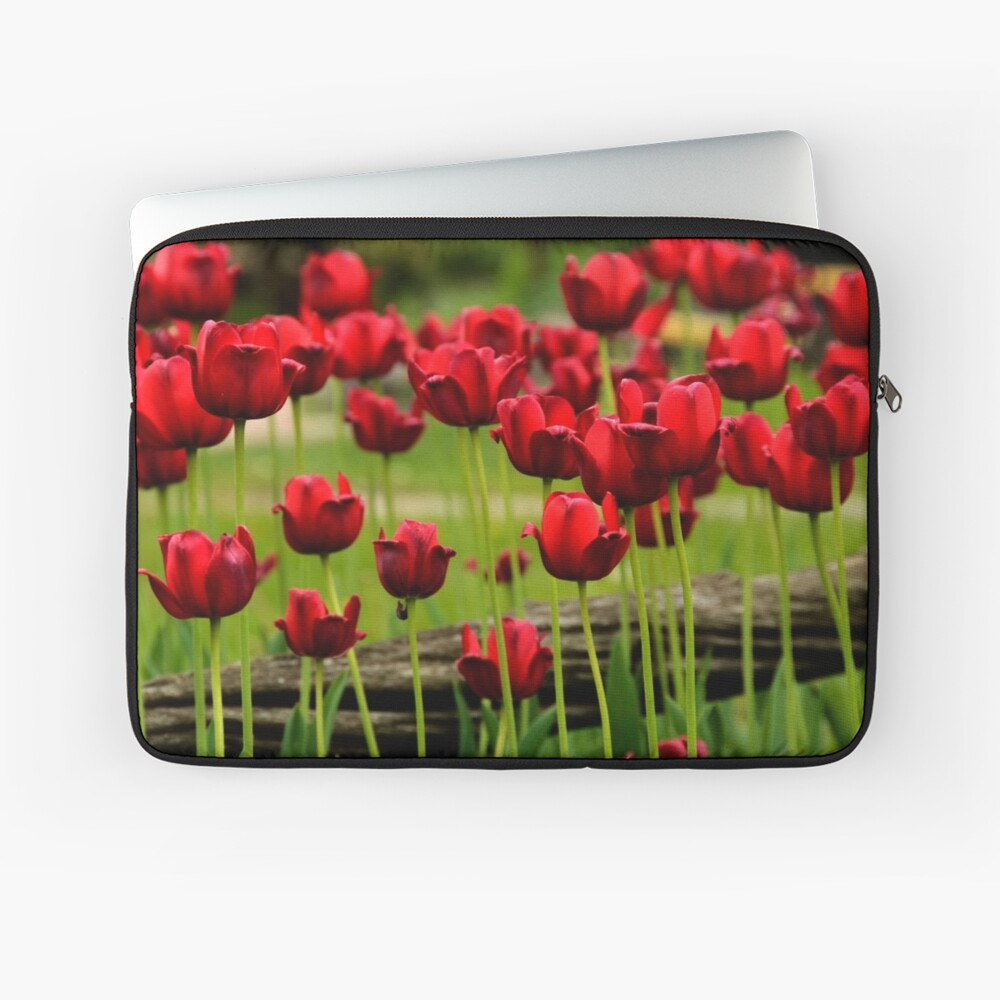Red Tulips in the Country Laptop Sleeve