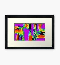 pink purple green orange black yellow blue painting Framed Print