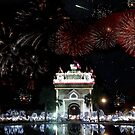 Fireworks over Victory Monument, Laos by John Nelson