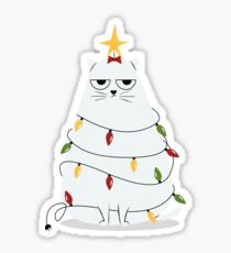 Grumpy Christmas Cat Sticker