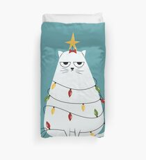 Grumpy Christmas Cat Duvet Cover