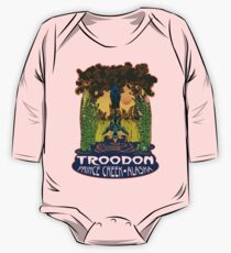 Retro Troodon in the Rushes (light-colored shirt) One Piece - Long Sleeve