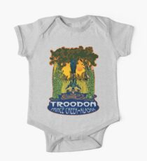 Retro Troodon in the Rushes (light-colored shirt) One Piece - Short Sleeve