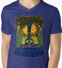 Retro Troodon in the Rushes (light-colored shirt) Men's V-Neck T-Shirt