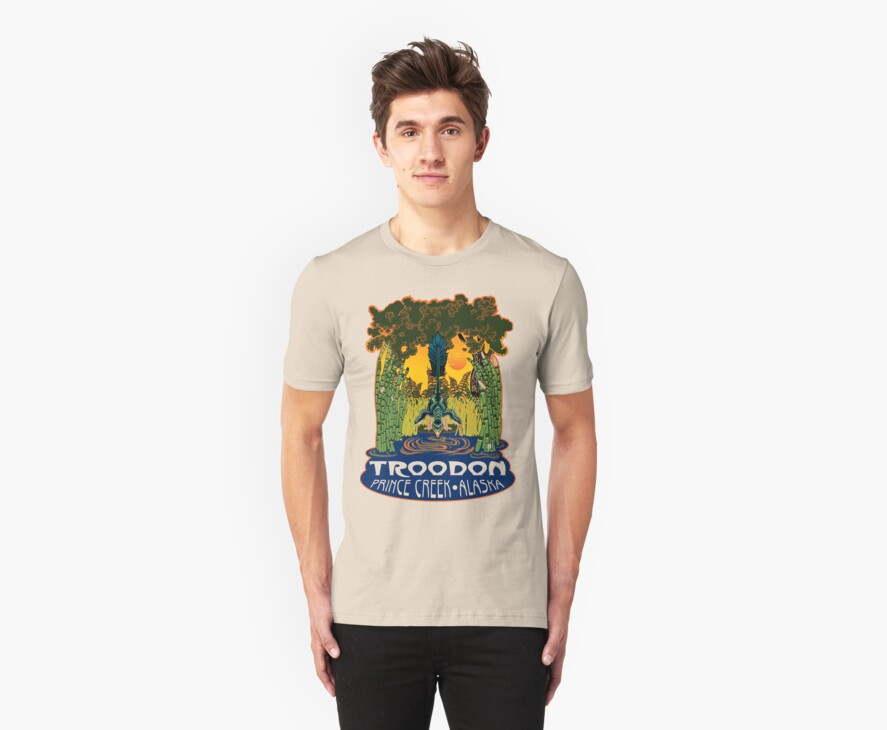 Retro Troodon in the Rushes (light-colored shirt) by Raven Amos