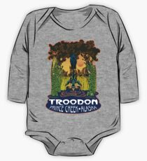 Retro Troodon in the Rushes (dark-colored shirt) One Piece - Long Sleeve