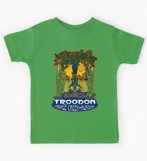 Retro Troodon in the Rushes (dark-colored shirt) Kids Tee