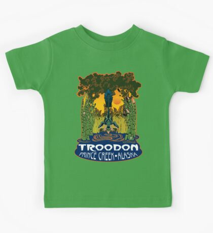 Retro Troodon in the Rushes (dark-colored shirt) Kids Clothes