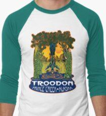 Retro Troodon in the Rushes (dark-colored shirt) Men's Baseball ¾ T-Shirt