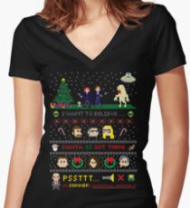The X-Files Christmas - Santa is Out There Women's Fitted V-Neck T-Shirt