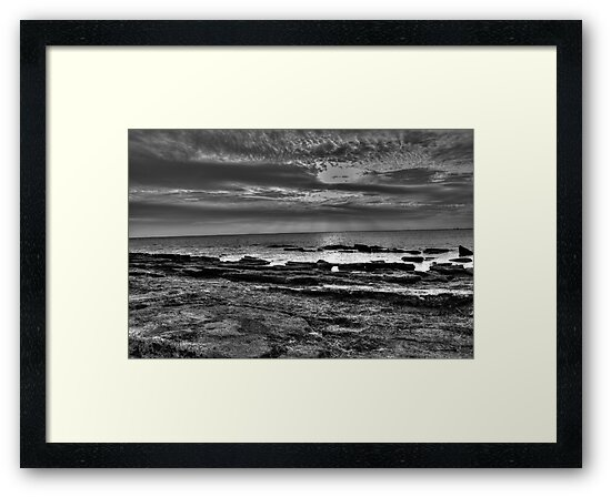 Sunset on Rocky Point in Black & White by Josette Halls