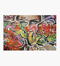 found street art urban graffiti layers texture pattern lettering portrait Photographic Print