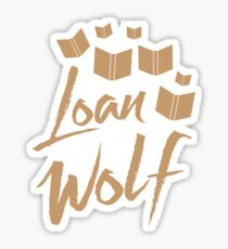 loan wolf (librarian with books) Sticker